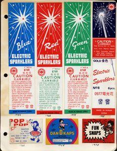 Feuerwerkskörper-Etiketten aus den 80ies