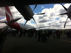 Canberra Airshow from beneath the port wing of the C-130 Hercules we'd just stepped out of. The line-up for the Qantas 737 featured was so long I didn't even bother with it. 24 March 2012.