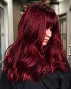 Hair Color Streaks, Hair Dye Colors, Cool Hair Color, Hair Highlights, Wine Red Hair Color, Hair Color Dark Red, Winter Hair Colour, Red Hair Dark Roots, Amazing Hair Color
