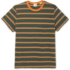 Levi's Vintage Clothing 1960s Striped Cotton-Jersey T-Shirt ❤ liked on Polyvore featuring men's fashion, men's clothing, men's shirts, men's t-shirts, mens summer shirts, mens stripe shirts, mens striped t shirt, mens jersey t shirt and mens summer t shirts