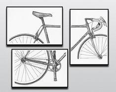 Muestran su pasión por el ciclismo con este intemporal 3 piezas vintage Bianchi bicicleta impresión conjunto. Un conjunto perfecto para los amantes del ciclismo o de arte, estas son copias de piezas originales de pluma y tinta, creados por mí, dueño de la tienda. Todas mis copias utilicen tintas de