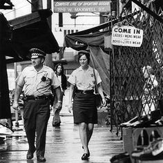 Chicago Police officers patrol Maxwell Street in 1974. Photo by Carl Hugare…