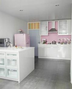 cozinha rosa e cinza