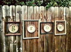 DIY Garden Art : Stencil / Paint letters on terracotta saucers & hang inside old picture frames. Diy Garden, Garden Crafts, Dream Garden, Garden Projects, Upcycled Garden, Garden Junk, Craft Projects, Garden Wall Art, Fence Garden