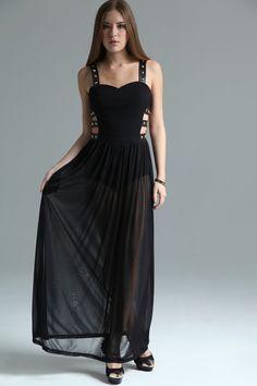 Boutique Macie Cut Out Side Stud Trim Maxi Dress