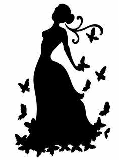 Pochoir Adhésif Home Déco 15 x 10 cm FEMME & PAPILLONS Silhouette Clip Art, Silhouette Portrait, Woman Silhouette, Quilting Templates, Character Wallpaper, Black And White Painting, Stencil Painting, Kirigami, Paper Cutting