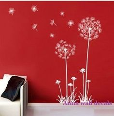 Dandelion:Dandelion wall decal,wall decals, children wall decals,vinyl wall decal, wall stickers,flowers wall decals,. $32.00, via Etsy.