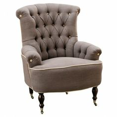Lorne Button Back Chair Charcoal with Contrast Buttoning