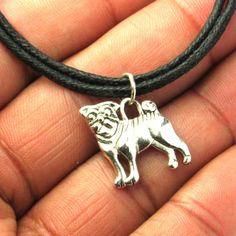 Adjustable Choker Necklace with a Pug Dog Charm