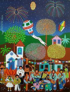 SÃO JOÃO - Pintura,  40x60 cm ©2008 por Militão Dos Santos -                        Art naïf