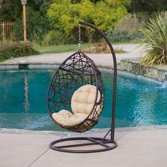 Christopher Knight Home Outdoor Brown Wicker Tear Drop  Swinging Chair | Overstock.com Shopping - The Best Deals on Hammocks/Swings