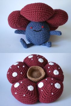 Another attempt to crochet a Pokemon. I've seen crochet Vileplumes before, but all of them modeled the petals as round balls. For this pattern, therefore, I focused on making the shape of the petal...