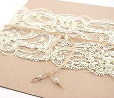 Burlap & Lace Shabby Chic Wedding Invitation
