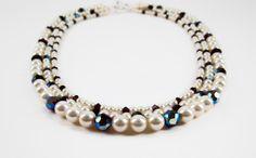 Beaded Pearl Triple Strand Necklace, Garnet Crystal. $64.00, via Etsy.