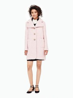 jewel button wool coat, satin slipper, kate spade