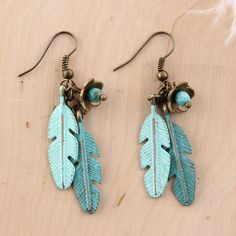 Wild+Spirit+Turquoise+Feather+Earrings