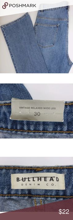 NWT Bullhead Vintage Relaxed Wide Leg Jeans Sz 30 Every item on my page is authentic and was personally purchased. Smoke free home. I ship everything within 1 business day of cleared payment. No holds. No trades. If you have any questions please reach out! Bullhead Jeans Flare & Wide Leg