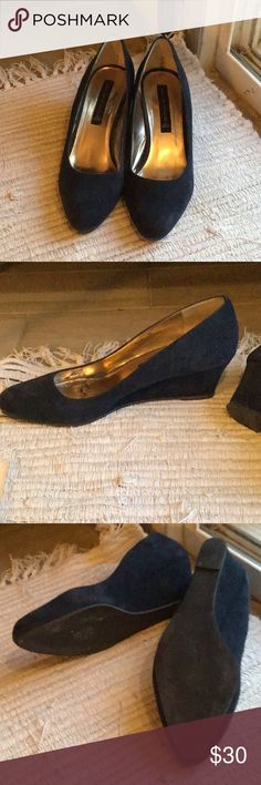48648cb945950d Navy suede wedges Steven navy suede Mary Jane wedges. Fantastic shoes for  work or with