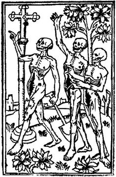 119. Les Trois Morts. Detail from the opening two pages of Horae, printed by Jean Dupré in Paris, about 1488.