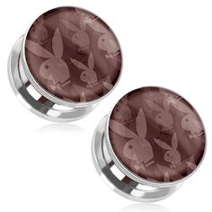 PAIR OF ROCK THE BUNNY PLAYBOY BUNNY LOGO PRINT 316L SURGICAL STEEL SCREW FIT PLUGS