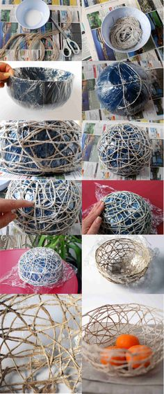 Diy Craft Projects DIY Stunning String Bowl. Equipment used: Fabric stiffener, string, cling film, scissors, bowls.