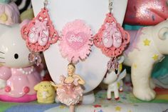 Barbie Ballerina Dancer Necklace Pink and so pretty Rare barbie pendant Beautiful statement couture