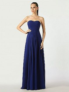 Midnight Blue Sweetheart Chiffon Bridesmaid Dress with Lace Up Back - USD $89.99