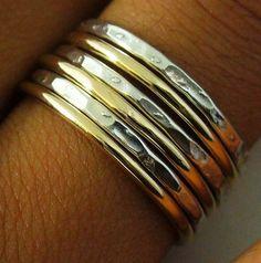 Sterling Silber Gold gefüllte 6 Band gehämmert poliert Mix Stack Ring-Set