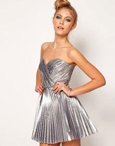 Lashes Of London Bandeau Dress in Metallic