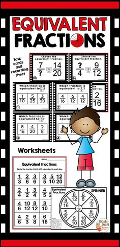 This fun equivalent fractions packet includes task cards and worksheets that can help your students build confidence. Fractions can be a difficult math skill to master for many students. Practice is key! Fraction Activities, Teaching Resources, Math Skills, Math Lessons, Primary Classroom, Classroom Ideas, Fractions Worksheets, Equivalent Fractions, Recording Sheets