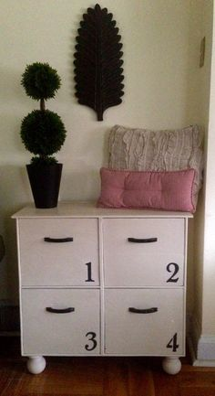 Vintage Four Drawer Storage Locker Hand Made Hand Painted Annie Sloan Old Ochre by ColorfulHomeDesigns on Etsy