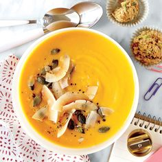 Gingered Sweet Potato Soup with Toasted Coconut and Pumpkinseeds | CookingLight.com #myplate #veggies