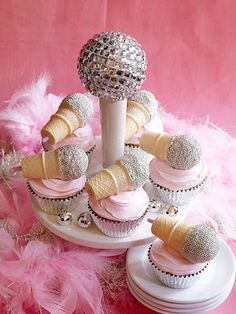 Made these microphone cupcakes for my daughter's birthday.  Singing while eating is entirely optional.