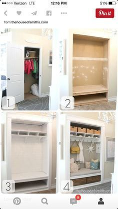 27 Easy Remodeling Ideas That Will Completely Transform Your Home (On a budget!) - 27 Easy Remodeling Ideas That Will Completely Transform Your Home (On a budget!) Best Picture For - Front Closet, Hallway Closet, Closet Mudroom, Closet Space, Closet Storage, Basement Closet, Closet Redo, Front Hallway, Hallway Storage