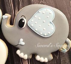 37 trendy Ideas for baby shower elefante ideas sweets Fancy Cookies, Cute Cookies, Cupcake Cookies, Summer Cookies, Cookie Favors, Flower Cookies, Heart Cookies, Baking Cupcakes, Iced Sugar Cookies