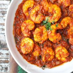 Tangy Tomato Prawn Masala Recipe - a tomato based prawn curry with potent flavors from a generous use of spices and chilli kick. Indian Prawn Recipes, Goan Recipes, Veg Recipes, Curry Recipes, Seafood Recipes, Cooking Recipes, Pakistani Recipes, Healthy Recipes, Prawn Masala