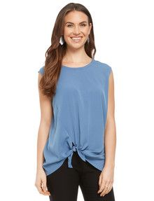 Whistle Sleeveless Tie Front Top, Blue product photo