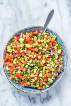 Israeli Salad is a must make Middle Eastern Recipe that is full of flavor! This salad is also known as Shirazi Salad (Persian Cucumber and Tomato Salad). Vegetable Dishes, Vegetable Recipes, Vegetarian Recipes, Cooking Recipes, Healthy Recipes, Israeli Salad, Israeli Food, Best Salad Recipes, Kebab Recipes