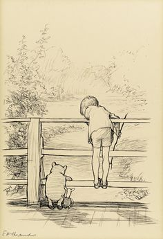 Sotheby's to Auction The Most Famous Book Illustration of the Century: E. Shepard's original ink drawing of Winnie-the-Pooh, Christopher Robin and Piglet on the 'Poohsticks' bridge From A. Milne's celebrated The House on Pooh Corner Winnie The Pooh Drawing, Winnie The Pooh Quotes, Vintage Winnie The Pooh, Hundred Acre Woods, Posca Art, Cartoon Kunst, Poses References, Children's Book Illustration, Book Illustrations