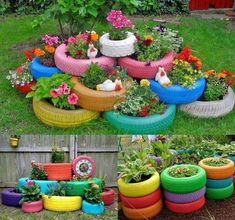 Painted old tires for plants.