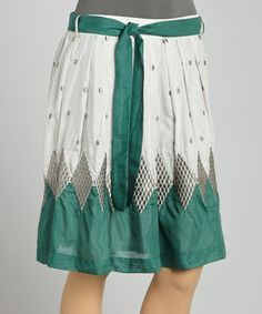 Look at this #zulilyfind! Gray & Green Geometric Silk-Blend A-Line Skirt by Blue Tassel #zulilyfinds