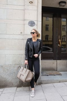leather jacket, shoes / H&M bag, sunglasses / Celine : P.S. I love fashion by Linda Juhola