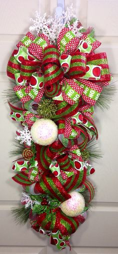 Christmas Mesh Swag on Etsy, $75.00