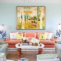 Splash on the Color | Sweeping horse pastures may surround Angela Beck's Kentucky home, but you'll find only tropical vibes inside her Palm Beach, Florida-inspired pool house. | SouthernLiving.com