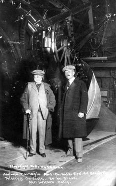 Andrew Carnegie (left) and George Ellery Hale   in front of the Mount Wilson Observatory telescope.