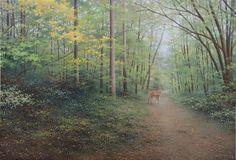 「春の小径(八ヶ岳南麓)」続木唯道/油彩(P50)/2013年  八ヶ岳の春の風景、という点で2012作「春の落葉松林」と表情が似ているかも知れない。  小径と言うには少し幅広で地元民家に通じる道でもあるが、八ヶ岳の大自然に程よく溶け込んで思わず散策したくなる風情がある。  点在する落葉松の真っ直ぐな幹と、それを撫でるように伸びた広葉樹のしなやかな枝とのアンサンブルが何とも魅力的だ。  過去に何度か鹿に遭遇したことがある。お互い身動きせず、視線を合わせた束の間の緊張感!  やがて鹿は森に消えていった。 「神々しいな」とさえ思う。 2月に仕上がったこの作品が、春の到来を一層待ち遠しくさせるようだ。