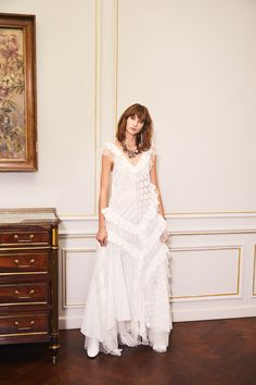the 'be the whole story' dress features intricate details in its splicing of embroidered cotton and spotted silk organza. our sleeveless, bias cut gown has an asymmetrical skirt and voluminous panels. Bridal Gowns, Wedding Dresses, Silk Organza, Asymmetrical Skirt, European Fashion, Fashion Shoot, No Frills, Ready To Wear, Strapless Dress