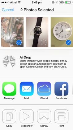 iOS 7 introduces Airdrop (for iPhone iPod touch gen. only) where the users can send pictures, contacts, passbook passes over Wi-Fi or Bluetooth to other iOS 7 users. Ios 7, Ipod Touch, Wi Fi, Bluetooth, Messages, Iphone, Digital, Pictures, Photos