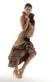 Farb- und Stilberatung mit www.farben-reich.com - Abendkleid  mit Stehkragen Taft Braun vorn kurz von Maßgeschneiderte Mode & Accessoires für festliche Anlässe auf DaWanda.com