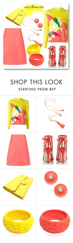 """""""Coral & Lemon Cashmere"""" by metter1 ❤ liked on Polyvore featuring Delpozo, Marni, Konstantina Tzovolou, Chanel, Kate Spade and Mariah Rovery"""